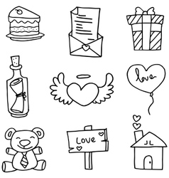 Object love with hand draw vector