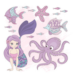 ocean mermaid princess summer cruise vector image