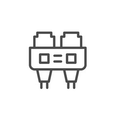 Optical port line outline icon vector