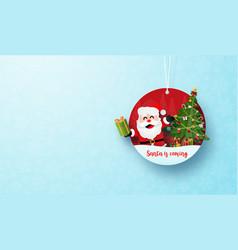 paper art christmas circle tag banner and vector image