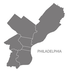 Philadelphia city map with boroughs grey vector