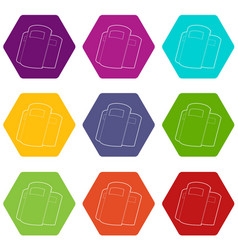 police shields icons set 9 vector image