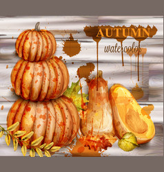 pumpkin watercolor autumn poster fall vector image