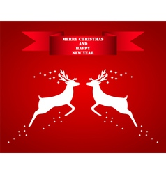 Reindeer silhouettes on a red background vector