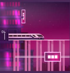 Retro future train on railway travel concept vector