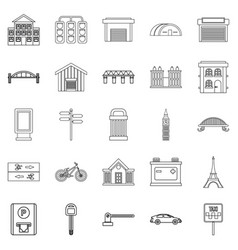 Road signs icons set outline style vector