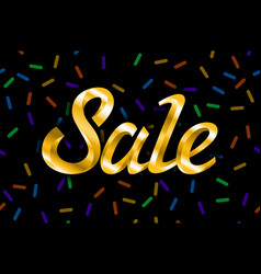 sale golden text sale lettering of gold on black vector image