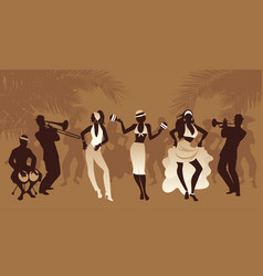 Salsa party time group three girls dancing vector