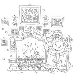 Santa near a fireplace vector