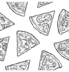 Seamless Pattern slice pizza Vintage vector image