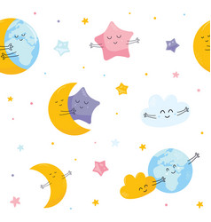 seamless pattern with cute moon star cloud earth vector image
