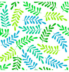 Seamless pattern with green and blue leaves vector