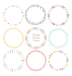 set colorful doodle borders circle frame vector image