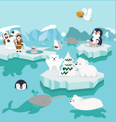 set cute cartoon north pole arctic on icebergs vector image
