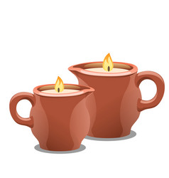 Set of burning candles in clay cups accessories vector
