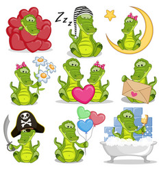 Set of cute cartoon crocodile vector