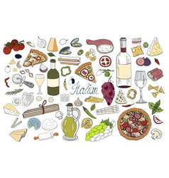 set of hand drawn italian food elements isolated vector image
