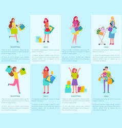 Shopping and sale set of posters with shoppers vector