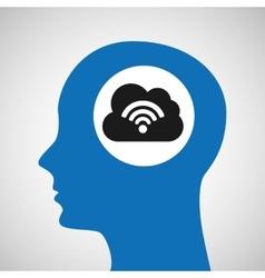 Silhouette head cloud wireless wifi icon vector
