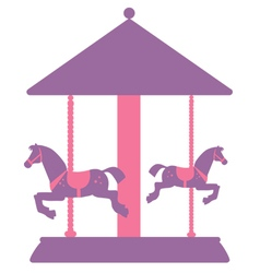 silhouette of carousel with horses vector image
