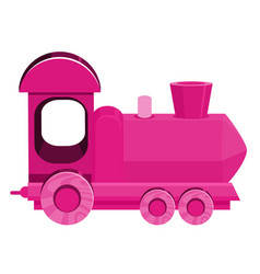 Single picture pink train on white background vector