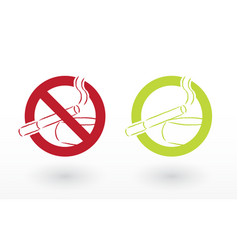 smoking allowed and no smoking icons vector image