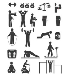 Sports and fitness icons of black color on white vector
