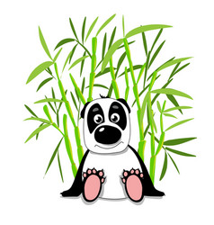 Stock cute panda in bamboo forest vector