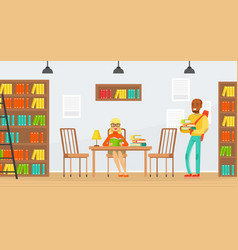 studying students library interior with people vector image