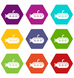 Submarine with periscope icons set 9 vector