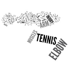 Tennis elbow text background word cloud concept vector