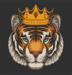Tiger waring crown vector