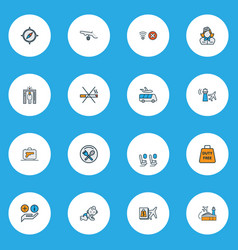 travel icons colored line set with assistance vector image