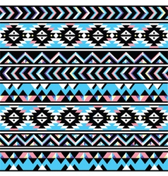 Tribal aztec seamless blue and pink pattern vector image