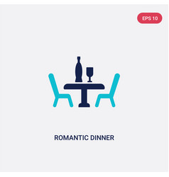 two color romantic dinner icon from love wedding vector image