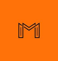 Two letter M monogram style mockup logo design vector
