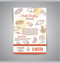 Vintage newsletter with sketch bakery pastries vector