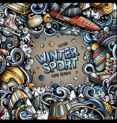 winter sports hand drawn doodles vector image