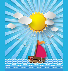 Yacht on sea with sun bream vector