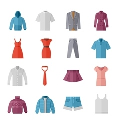 Fashion and clothes flat icons vector image vector image
