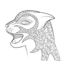 head of a wild cat zen tangle cheetah vector image