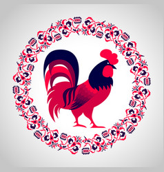 red fire rooster vector image
