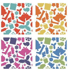 Seamless christmas patterns from various shapes vector image vector image