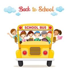 Children Enjoy On School Bus vector image vector image