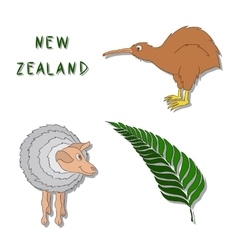 New Zealand symbols Set of cartoon colored icons vector image vector image