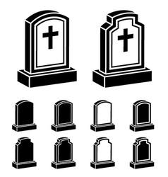 3d tombstone cross black symbol vector image