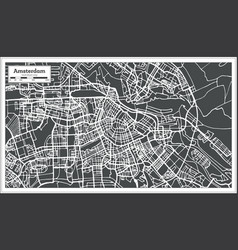 amsterdam holland map in retro style vector image
