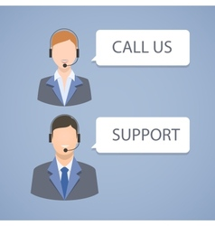 Call center support emblem vector image vector image