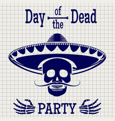 day of dead sketch poster design vector image vector image