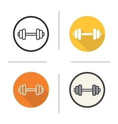 Gym dumbbell flat design linear and color icons vector